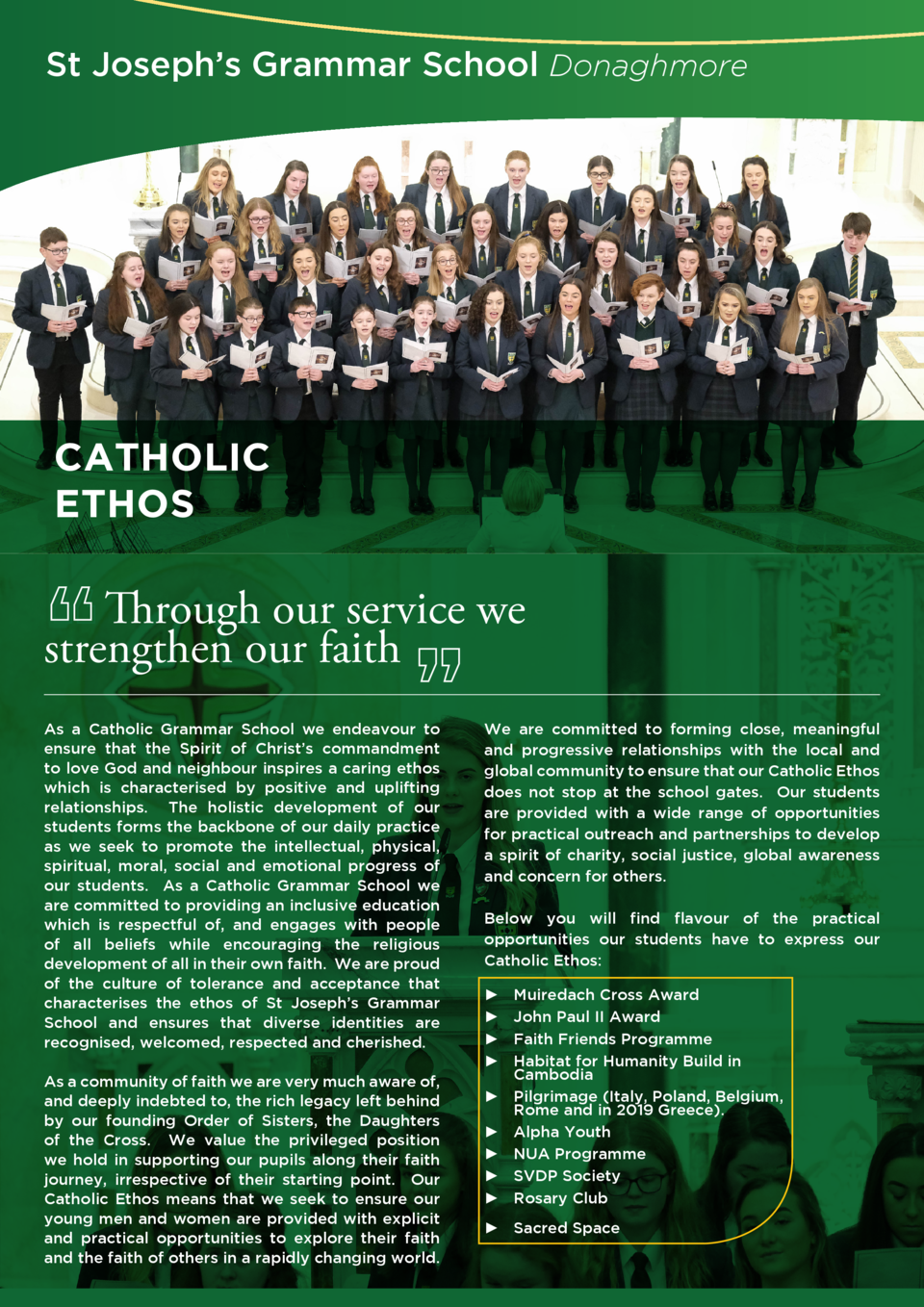 St Joseph   s Grammar School Donaghmore  CATHOLIC ETHOS  Through our service we strengthen our faith    As a Catholic Gram...
