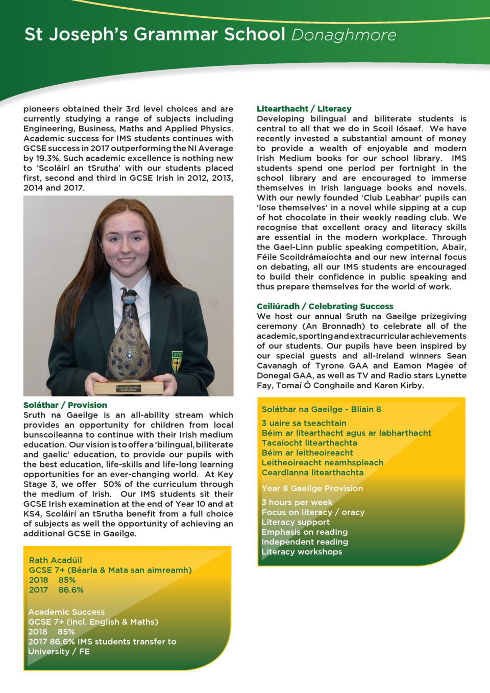 St Joseph   s Grammar School Donaghmore  pioneers obtained their 3rd level choices and are currently studying a range of s...