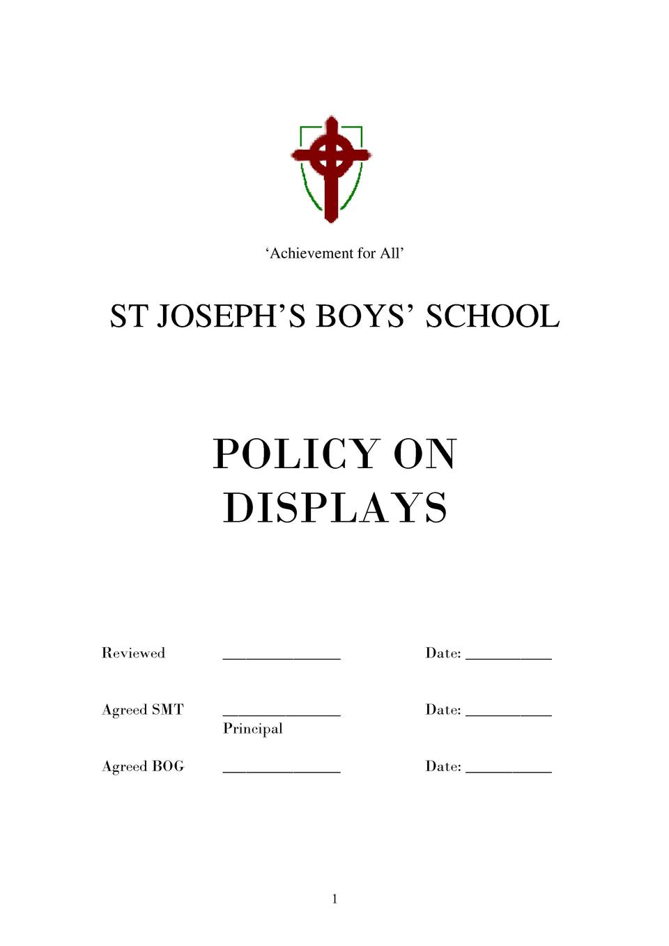 Achievement for All     ST JOSEPH   S BOYS    SCHOOL  POLICY ON DISPLAYS Reviewed  _______________  Date  ___________  ...