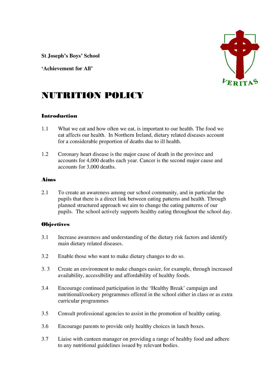 St Joseph   s Boys    School    Achievement for All     NUTRITION POLICY Introduction 1.1  What we eat and how often we ea...
