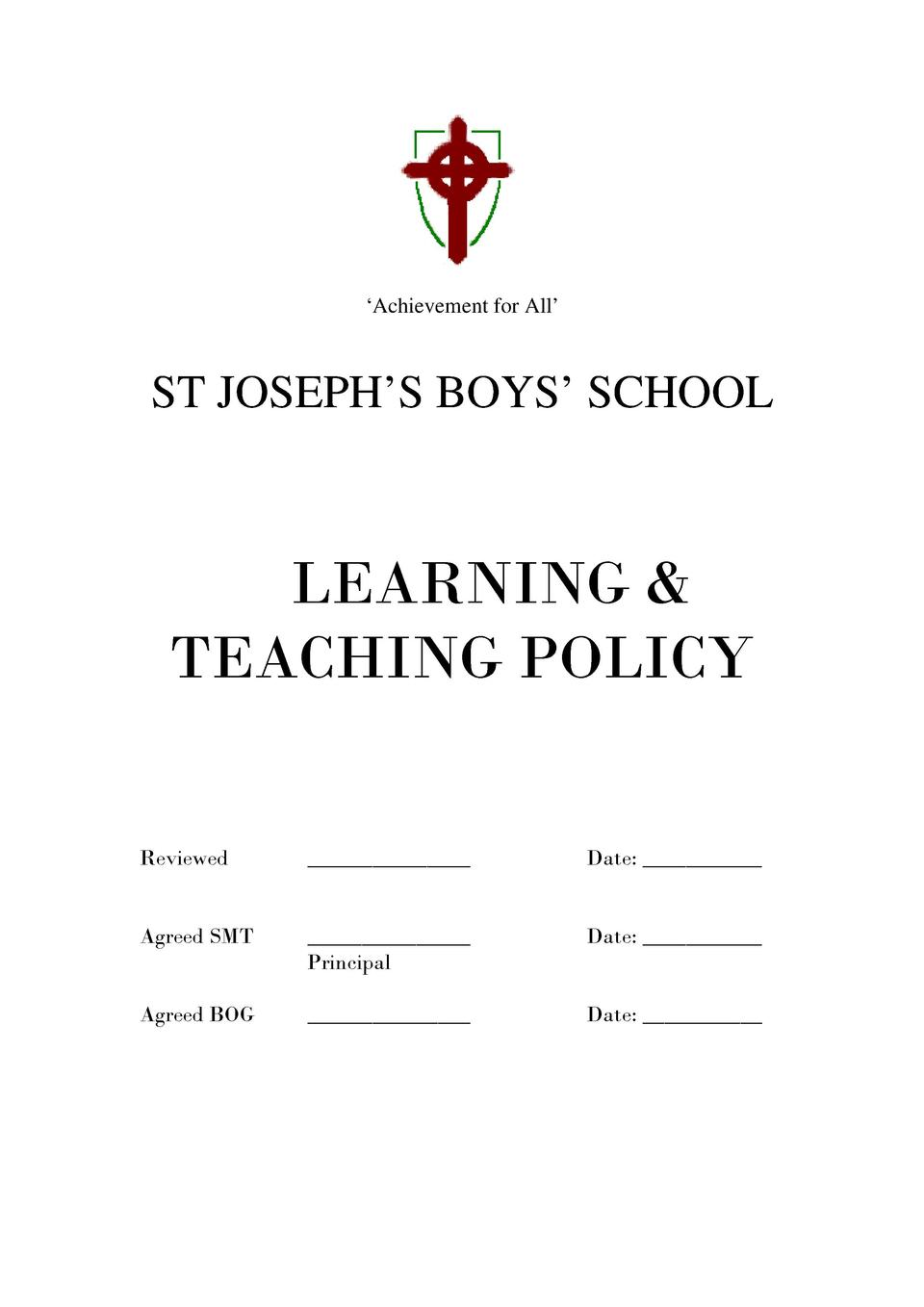 Achievement for All     ST JOSEPH   S BOYS    SCHOOL  LEARNING   TEACHING POLICY Reviewed  _______________  Date  _____...