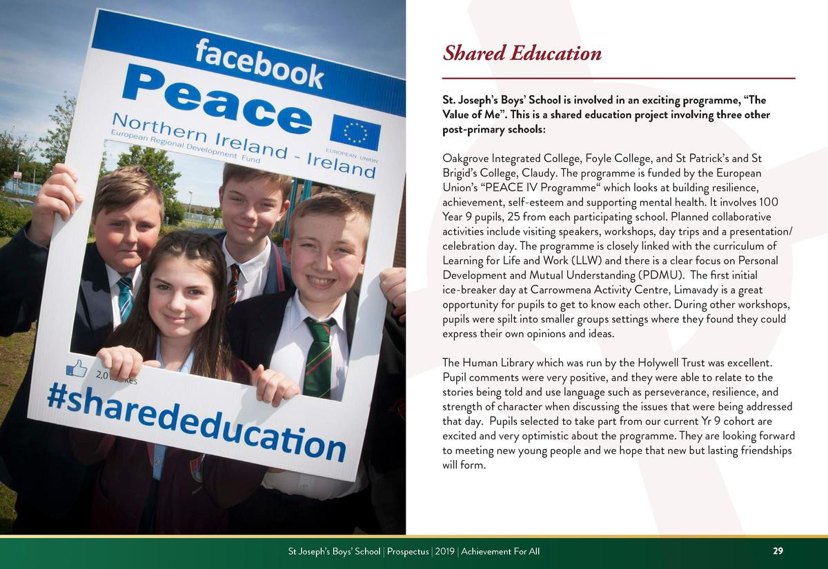Shared Education St. Joseph   s Boys    School is involved in an exciting programme,    The Value of Me   . This is a shar...