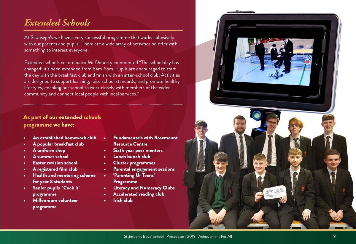 Extended Schools At St Joseph   s we have a very successful programme that works cohesively with our parents and pupils. T...