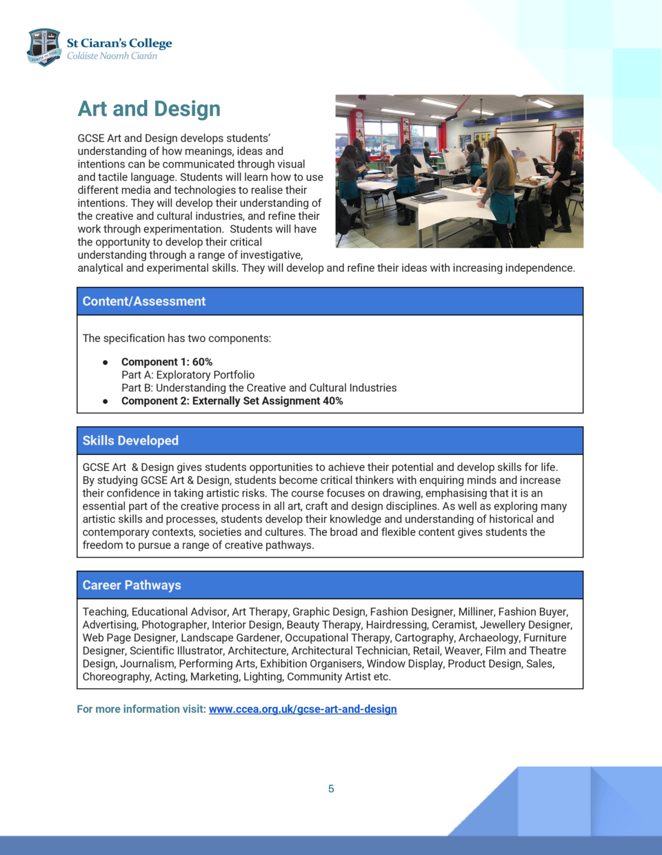 Art Agriculture and Design   and Land Use   GCSE The CCEA Art and GCSE Design Agriculture develops andstudents      La...
