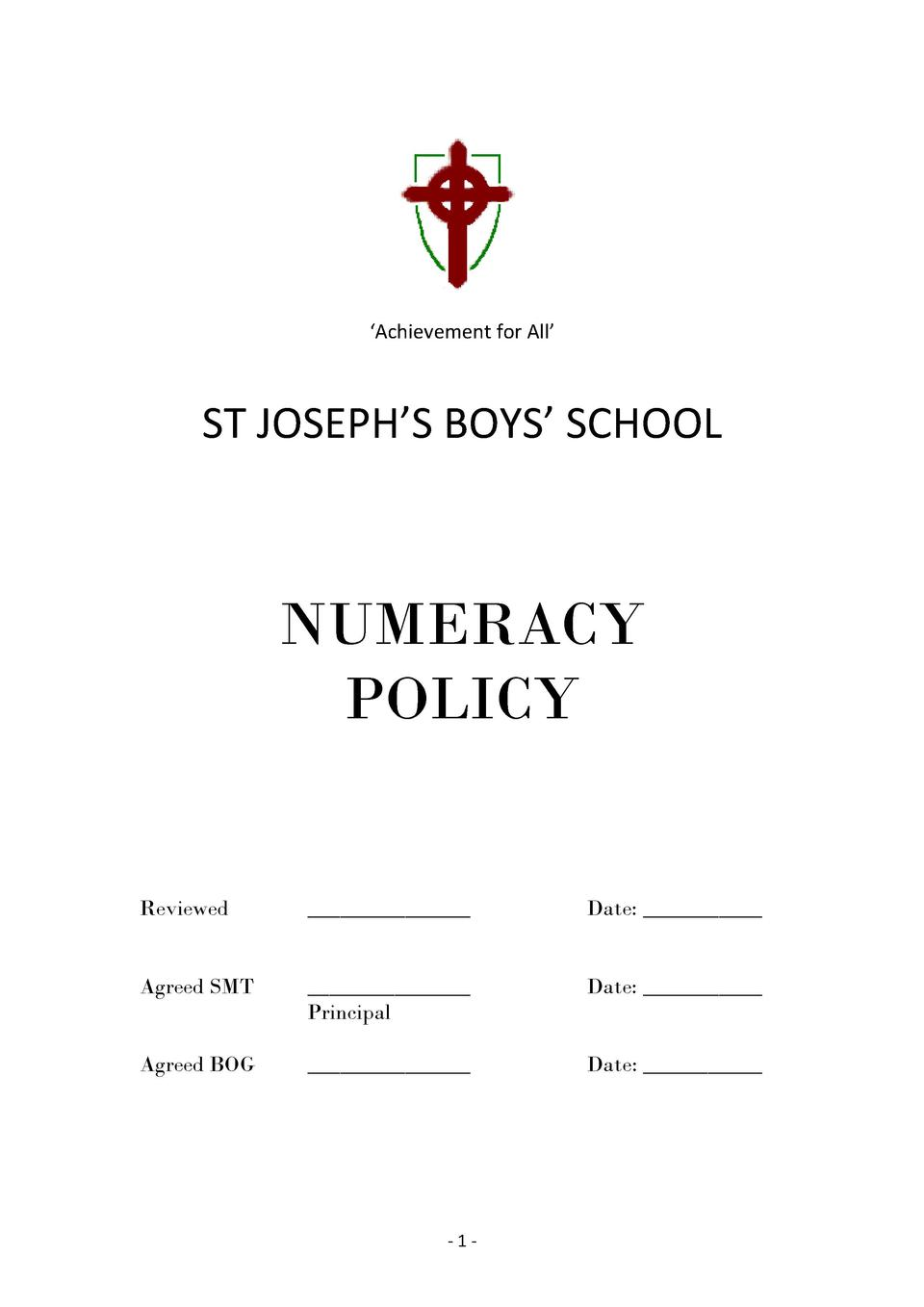 Achievement  for  All             ST  JOSEPH   S  BOYS     SCHOOL                NUMERACY POLICY           ...