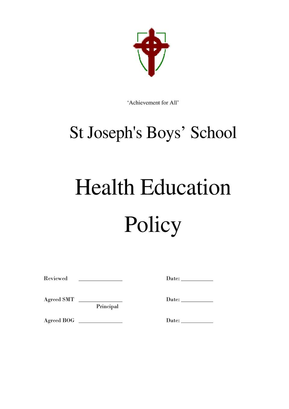 Achievement for All     St Joseph s Boys    School  Health Education Policy Reviewed  _______________  Date  __________...