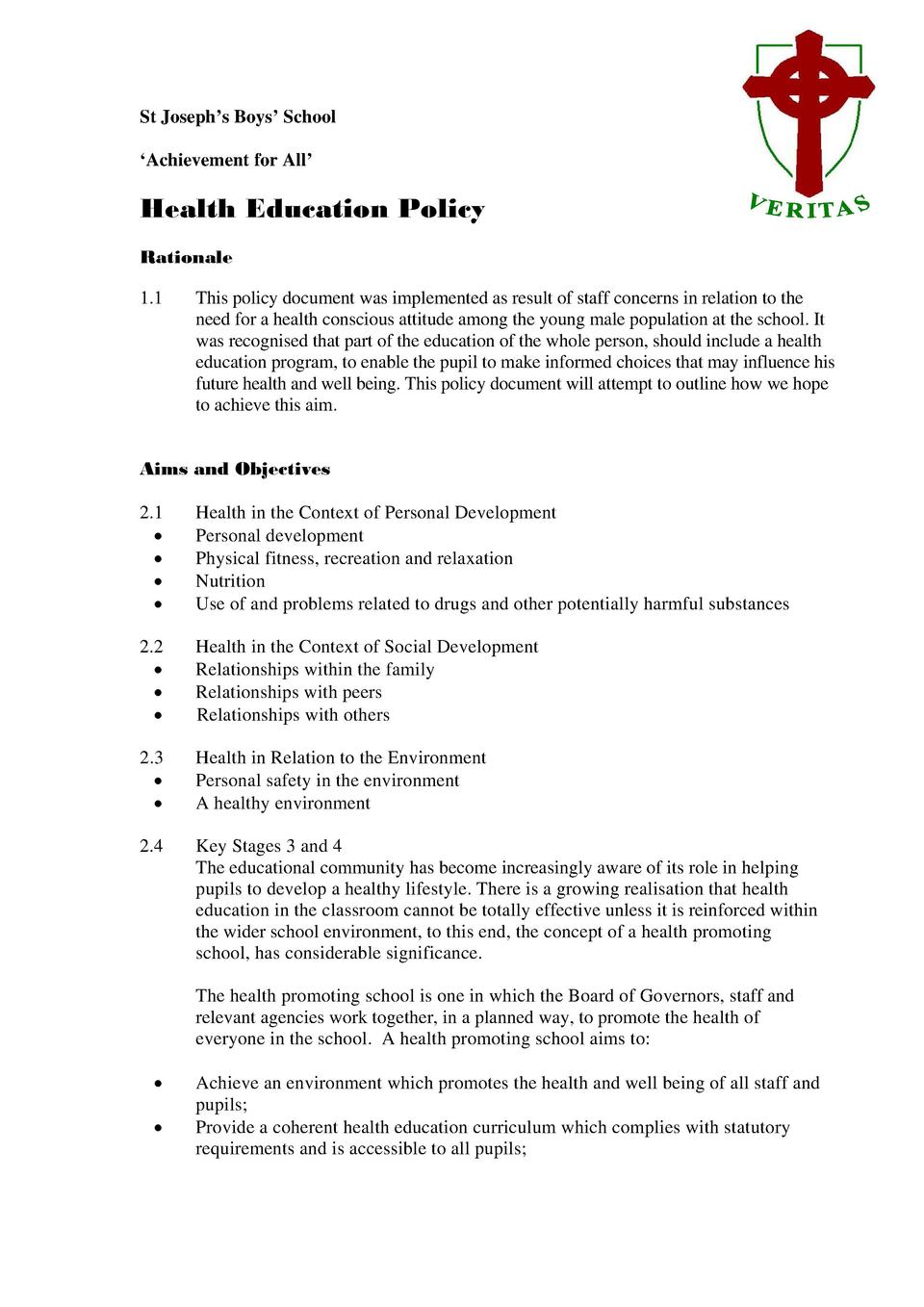 St Joseph   s Boys    School    Achievement for All     Health Education Policy Rationale 1.1  This policy document was im...