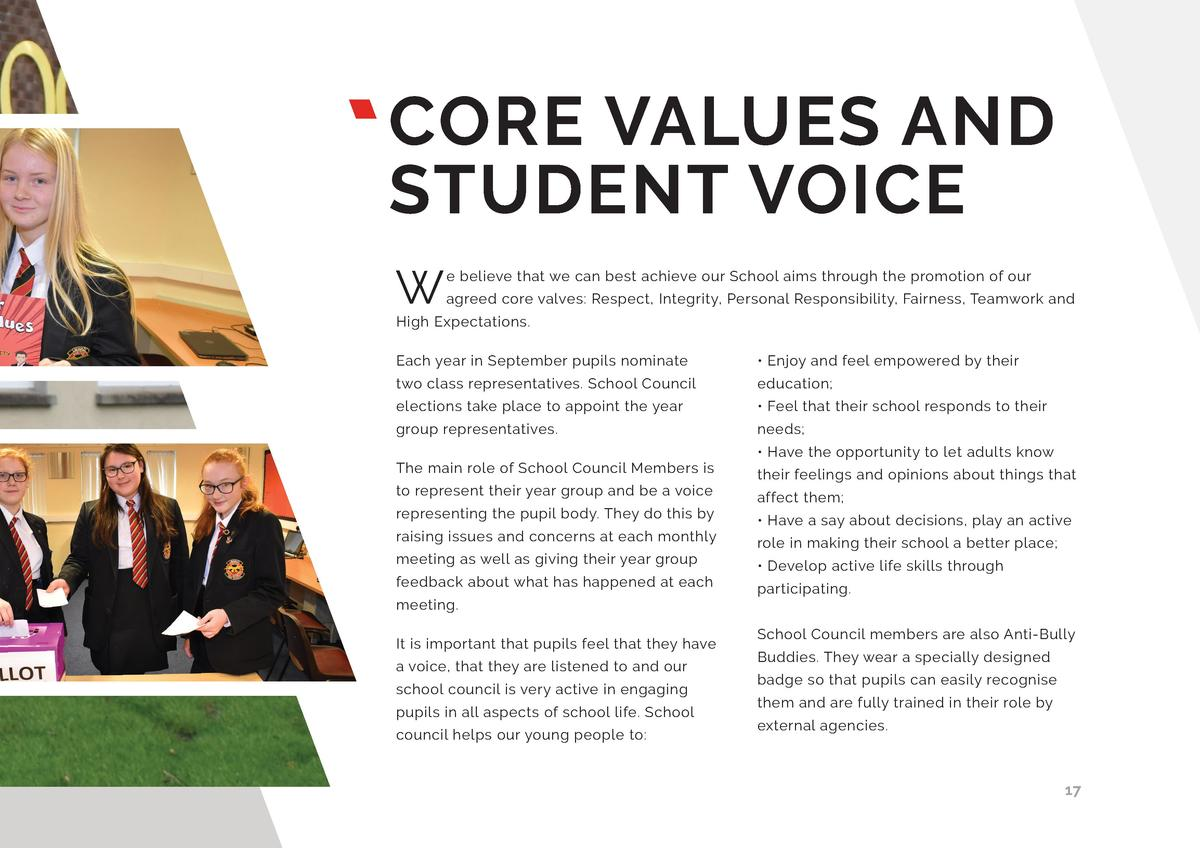 CORE VALUES AND STUDENT VOICE W  e believe that we can best achieve our School aims through the promotion of our agreed co...