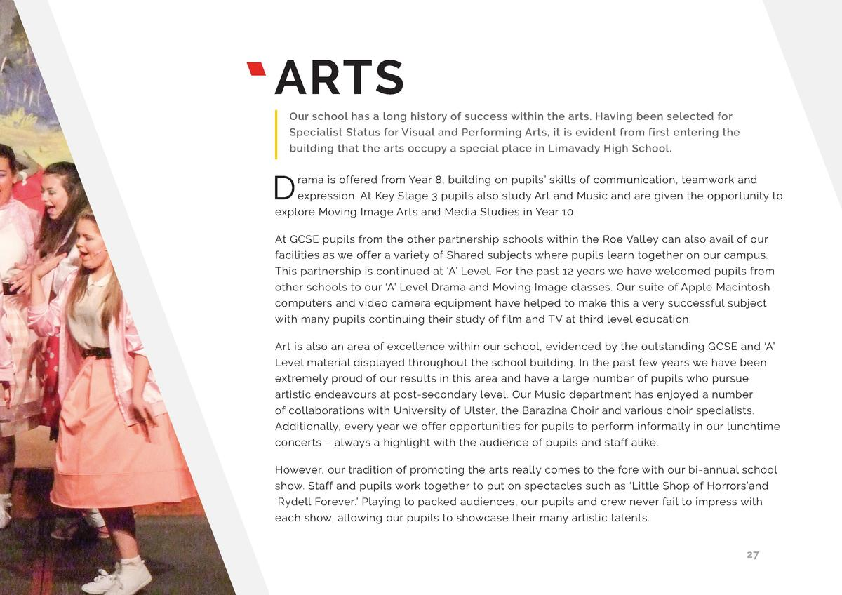 ARTS Our school has a long history of success within the arts. Having been selected for Specialist Status for Visual and P...