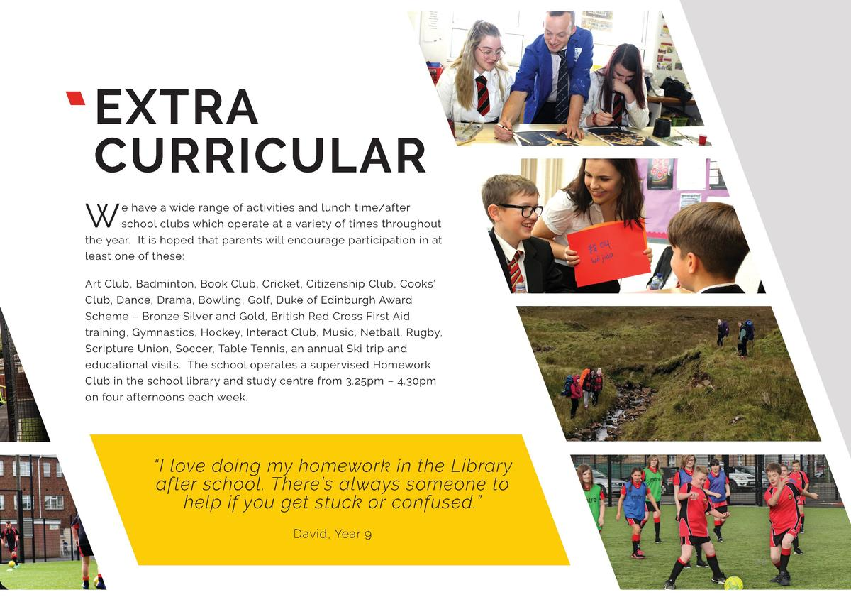 EXTRA CURRICULAR W  e have a wide range of activities and lunch time after school clubs which operate at a variety of time...