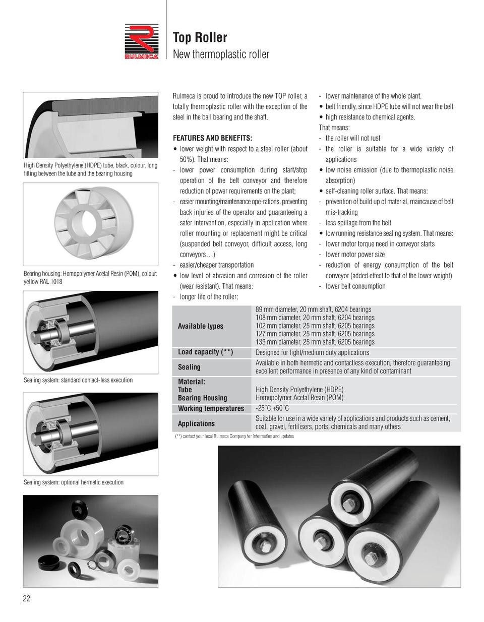 Top Roller New thermoplastic roller  Rulmeca is proud to introduce the new TOP roller, a totally thermoplastic roller with...