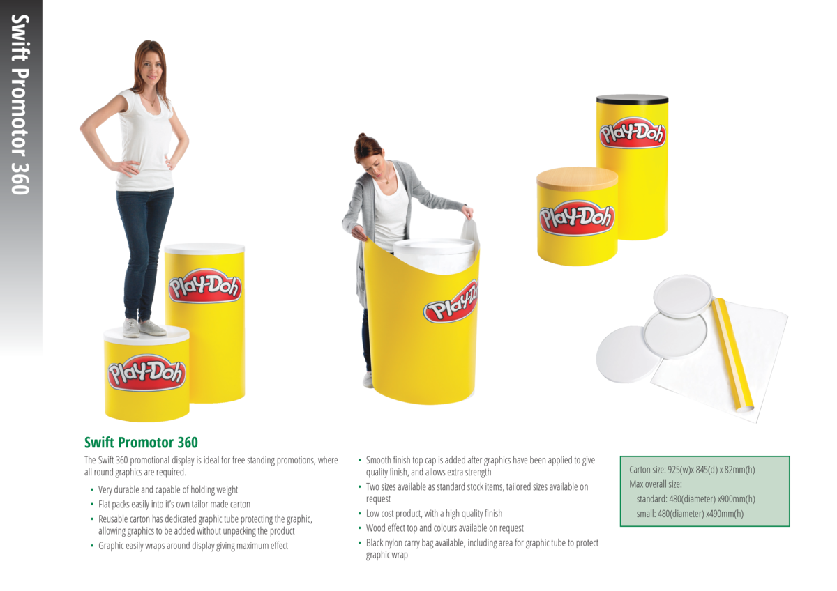 Swift Promotor 360 Swift Promotor 360 The Swift 360 promotional display is ideal for free standing promotions, where all r...