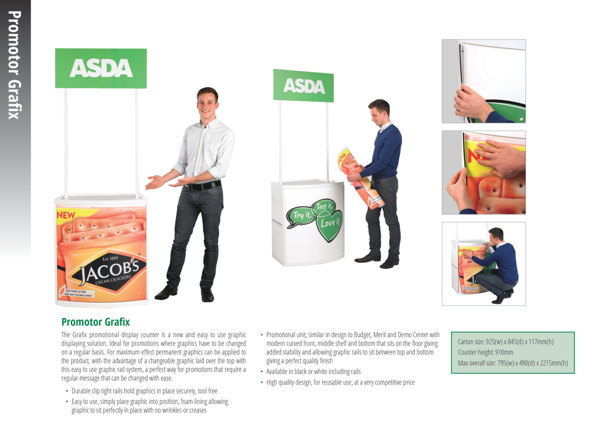 Promotor Grafix Promotor Grafix The Grafix promotional display counter is a new and easy to use graphic displaying solutio...