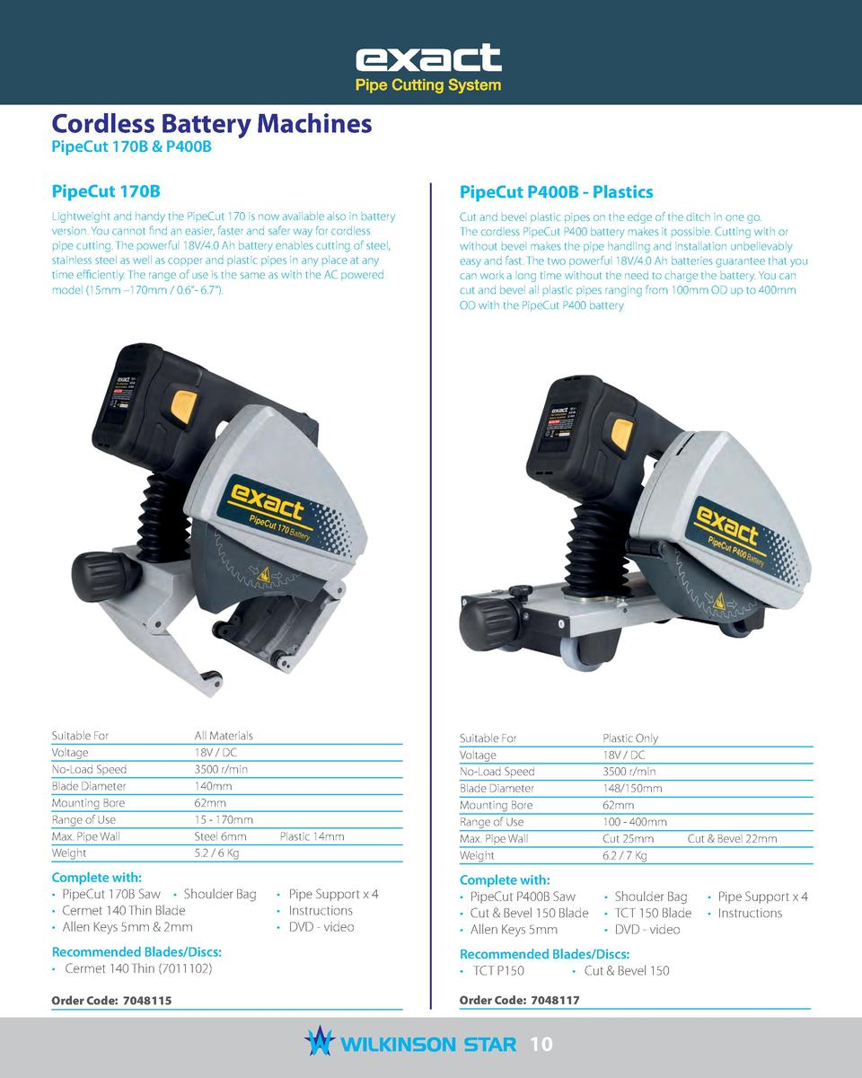 Cordless Battery Machines PipeCut 170B   P400B  PipeCut 170B  PipeCut P400B - Plastics  Lightweight and handy the PipeCut ...