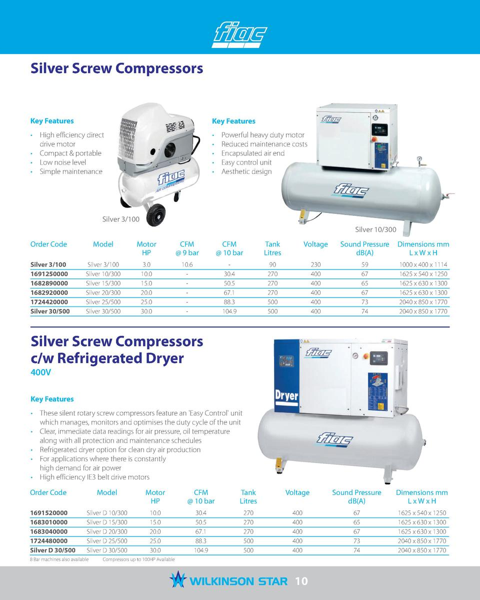 Silver Screw Compressors  Key Features  Key Features      High efficiency direct drive motor     Compact   portable     Lo...