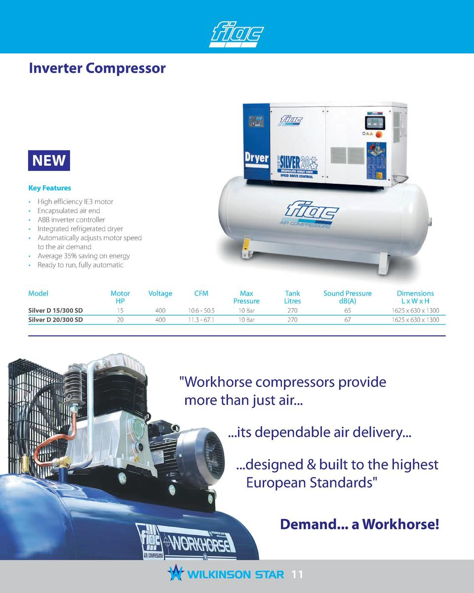 Inverter Compressor NEW Key Features High efficiency IE3 motor Encapsulated  air end ABB inverter controller Integrated