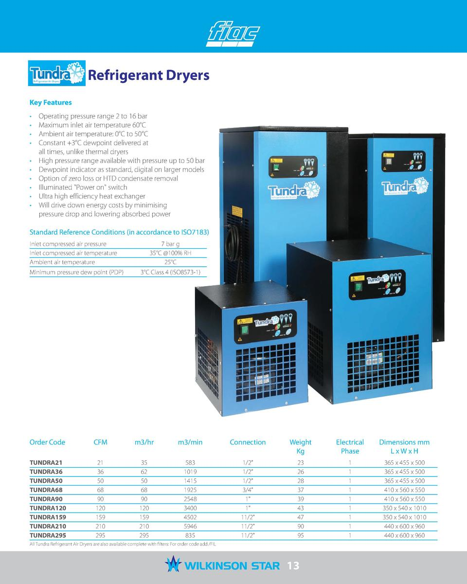 Tundra Refrigerant Dryers Key Features                                                    Operating pressure range 2 to 16...