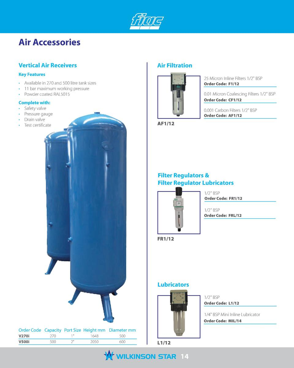 Air Accessories Vertical Air Receivers  Air Filtration  Key Features  25 Micron Inline Filters 1 2  BSP       Available in...