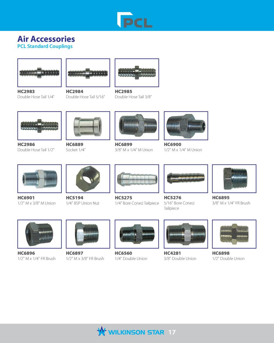 Air Accessories PCL Standard Couplings  HC2983  HC2984  HC2985  Double Hose Tail 1 4   Double Hose Tail 5 16   Double Hose...