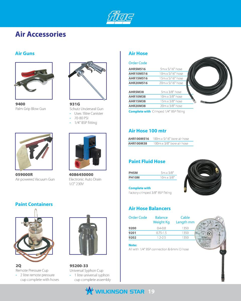 Air Accessories Air Guns  Air Hose Order Code  9400  931G  Palm Grip Blow Gun  Schutz Underseal Gun      Uses 1litre Canis...