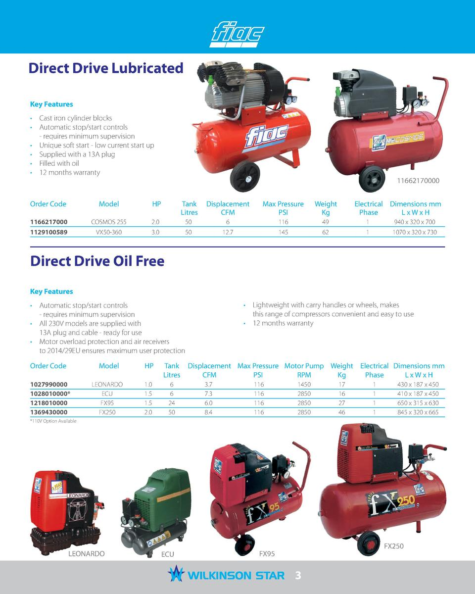 Direct Drive Lubricated Key Features      Cast iron cylinder blocks      Automatic stop start controls - requires minimum ...