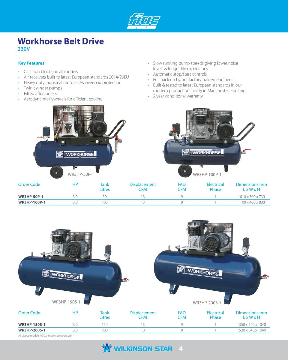 Workhorse Belt Drive 230V  Key Features                                     Slow running pump speeds giving lower noise le...