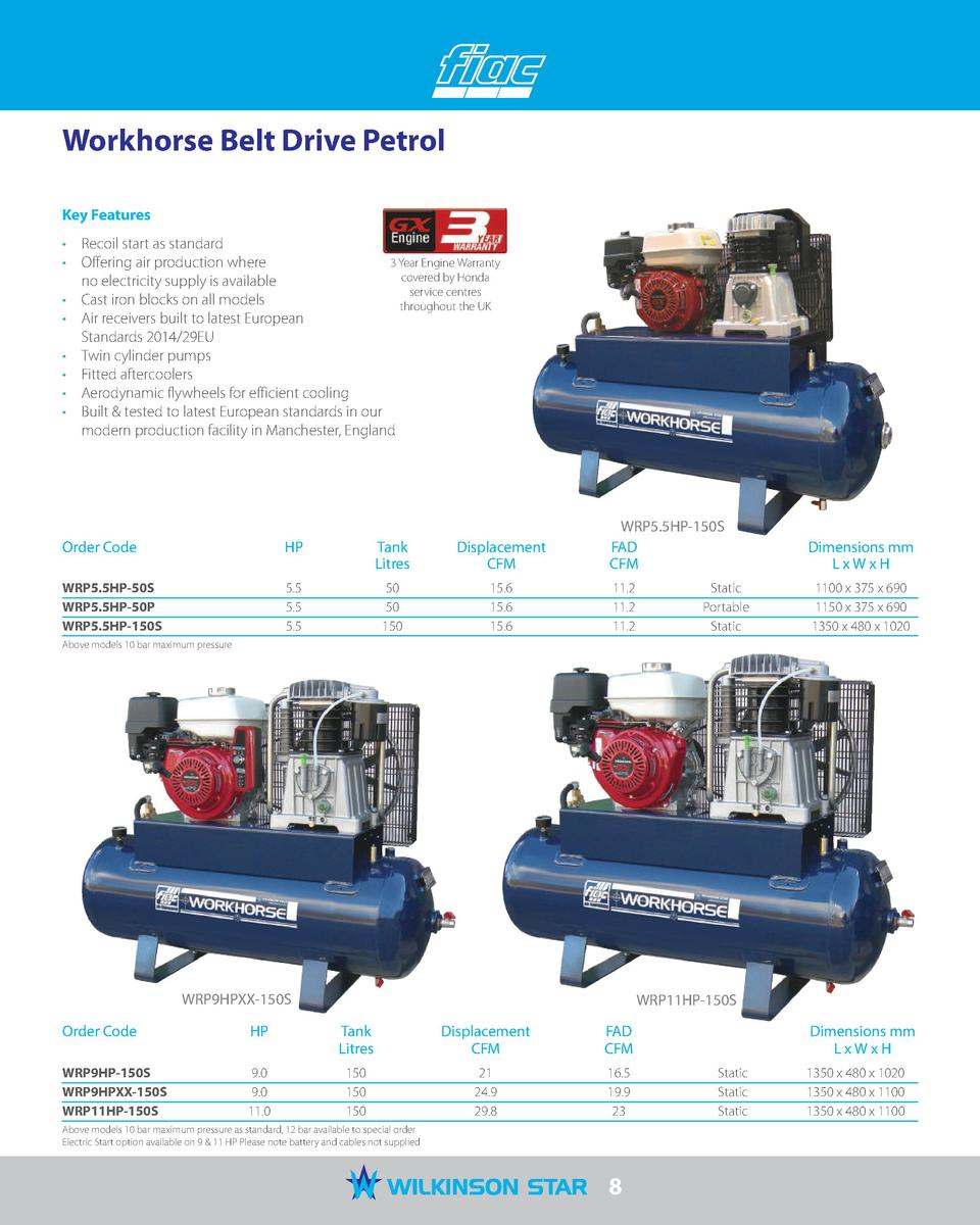 Workhorse Belt Drive Petrol Key Features     Recoil start as standard 3 Year Engine Warranty     Offering air production w...