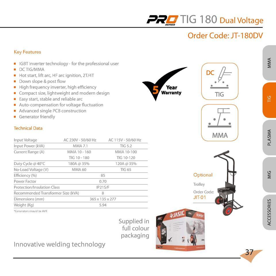 Jasic 2017 Catalogue Mode Inverter Arc Welder Schematic On Igbt Tig 180 Dual Voltage Order Code Jt 180dv Technology For The Professional