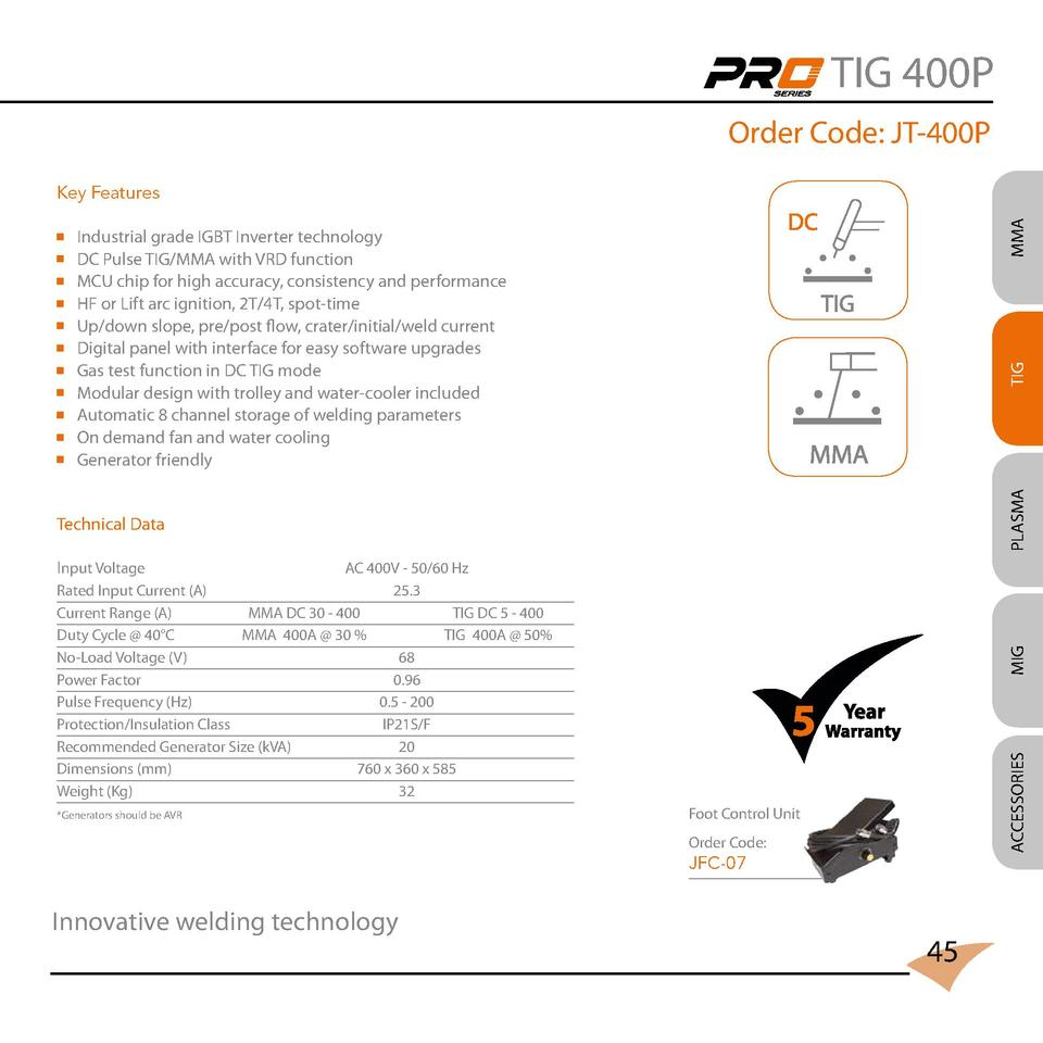 TIG 400P Order Code  JT-400P Industrial grade IGBT Inverter technology DC Pulse TIG MMA with VRD function MCU chip for hig...