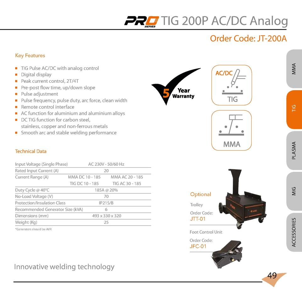 TIG 200P AC DC Analog Order Code  JT-200A TIG Pulse AC DC with analog control Digital display Peak current control, 2T 4T ...