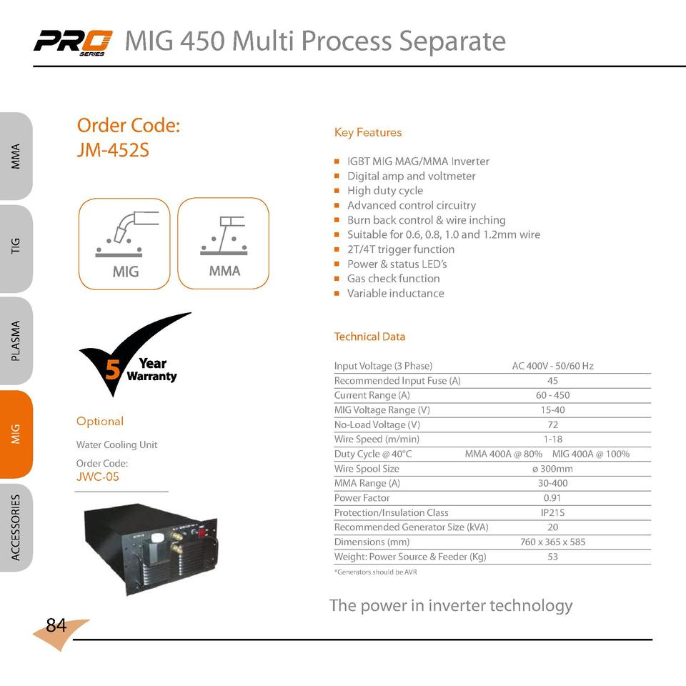 MIG 450 Multi Process Separate  MMA  Order Code  JM-452S  Key Features                           TIG                      ...