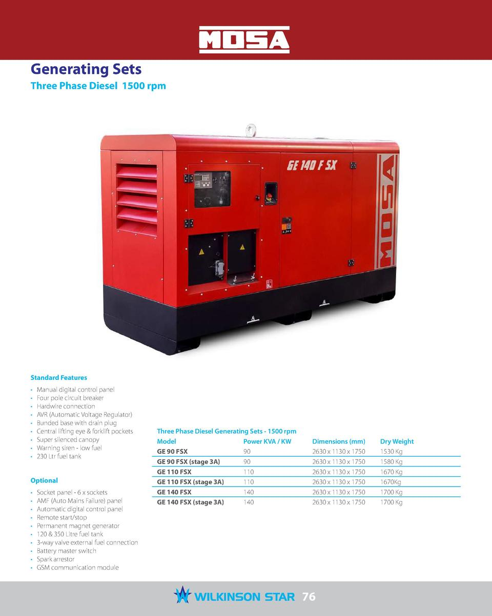 Generating Sets Three Phase Diesel 1500 rpm Standard Features Manual ...