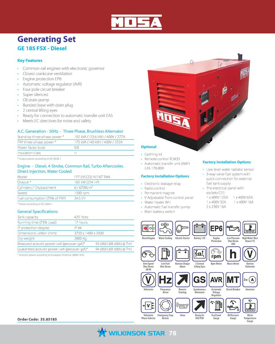 Mosa 2017 Catalogue 94 580 Case Starter Wiring Diagram Generating Set Ge 185 Fsx Diesel Key Features