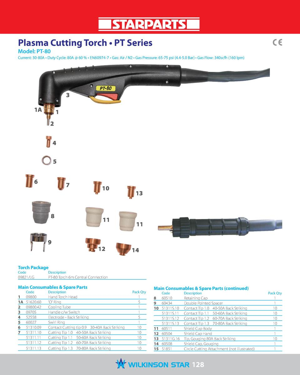 Plasma Cutting Torch     PT Series Model  PT-80  Current  30-80A     Duty Cycle  80A   60       EN60974-7     Gas  Air   N...