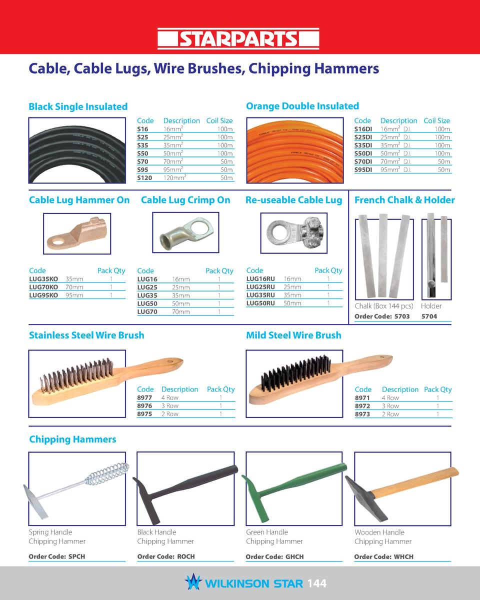 Cable, Cable Lugs, Wire Brushes, Chipping Hammers Orange Double Insulated  Black Single Insulated Code   Description  Coil...