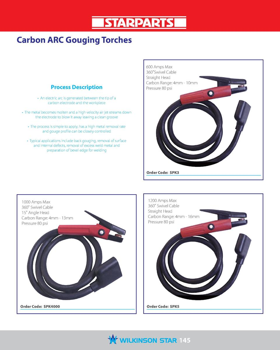 Carbon ARC Gouging Torches  Process Description  600 Amps Max 360  Swivel Cable Straight Head Carbon Range  4mm - 10mm Pre...