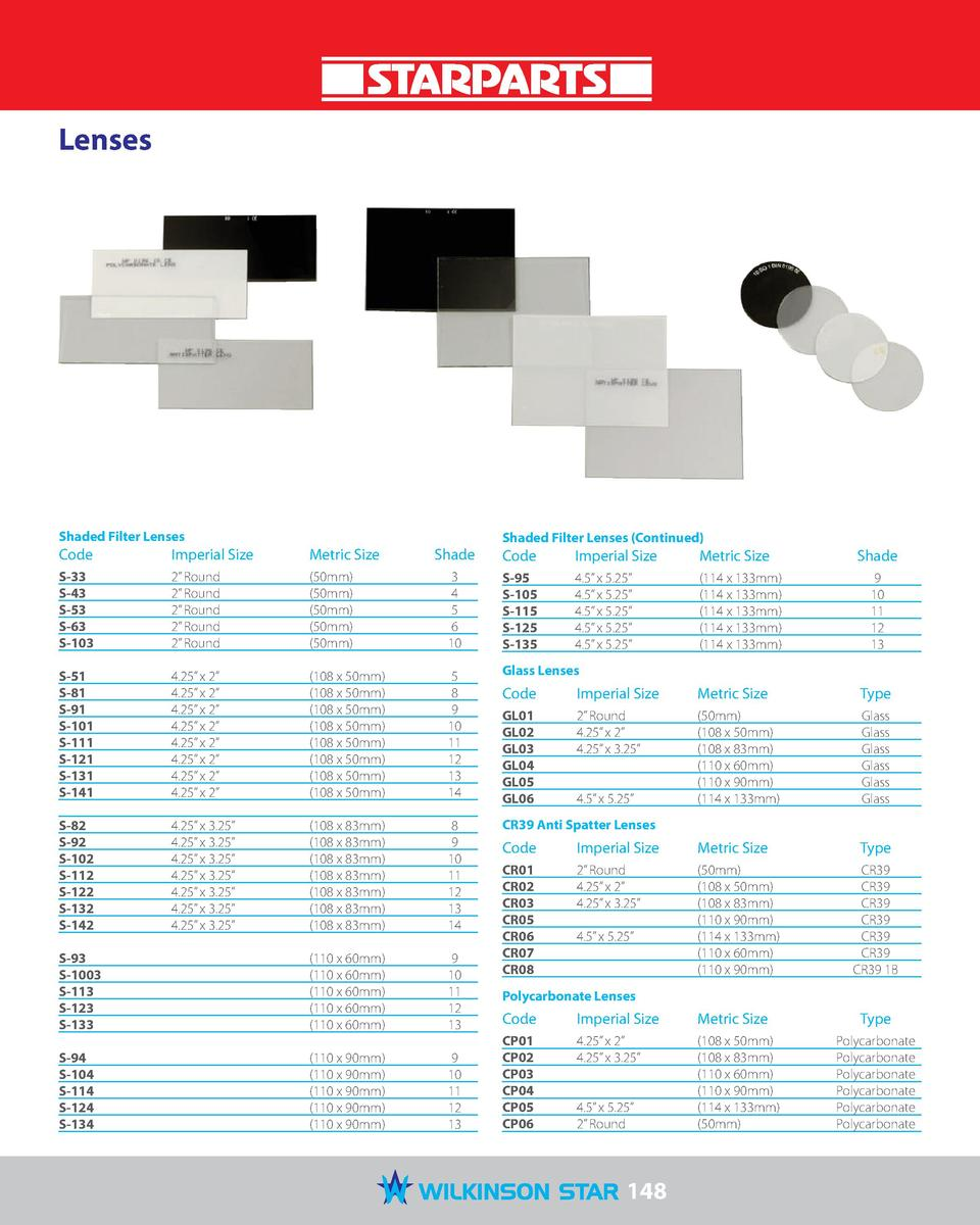 Lenses  Shaded Filter Lenses  Imperial Size   Metric Size   Code   Imperial Size   Metric Size   S-33  S-43  S-53  S-63  S...