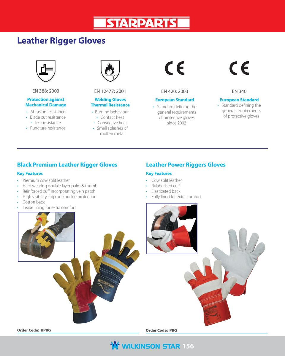 Leather Rigger Gloves  EN 388  2003  EN 12477  2001  Protection against Mechanical Damage  Welding Gloves Thermal Resistan...