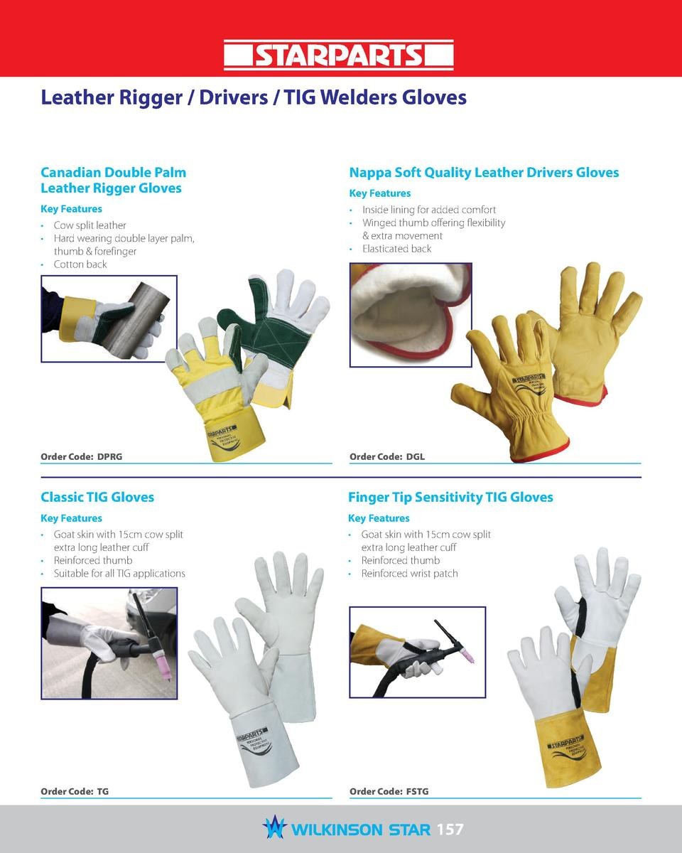 Leather Rigger   Drivers   TIG Welders Gloves  Canadian Double Palm Leather Rigger Gloves  Nappa Soft Quality Leather Driv...