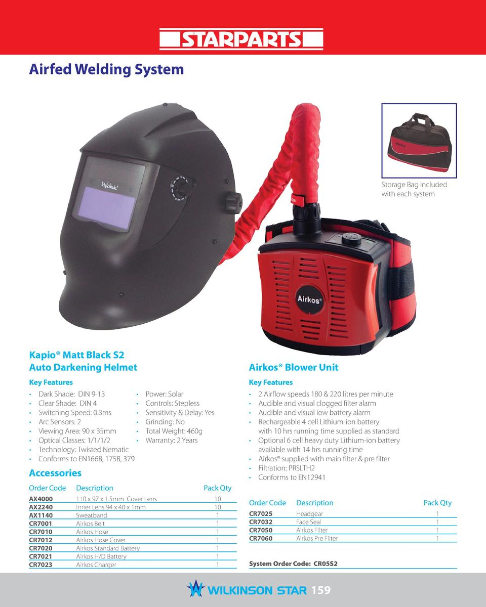 Airfed Welding System  Storage Bag included with each system  Kapio   Matt Black S2 Auto Darkening Helmet  Airkos   Blower...