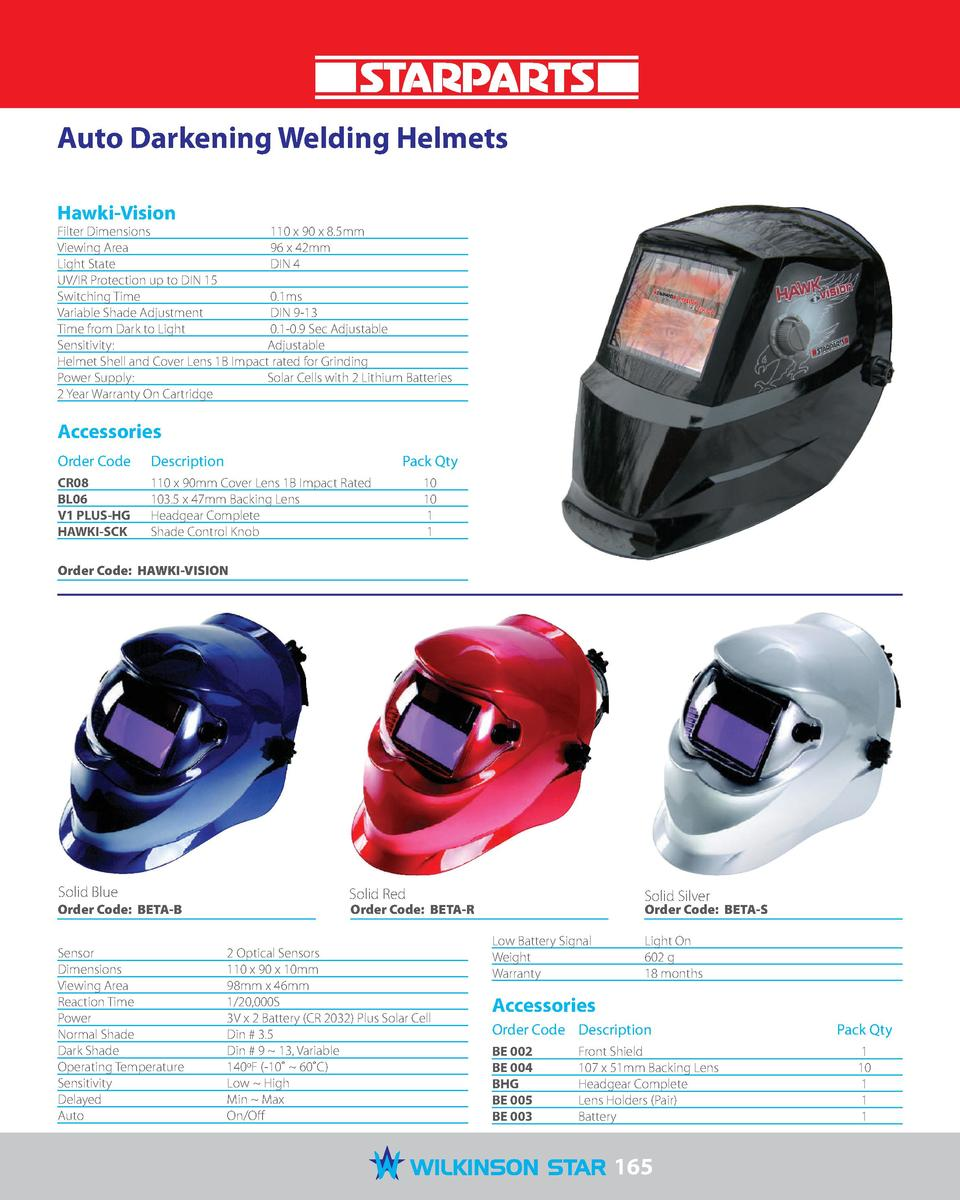 Auto Darkening Welding Helmets Hawki-Vision  Filter Dimensions  110 x 90 x 8.5mm Viewing Area  96 x 42mm Light State  DIN ...