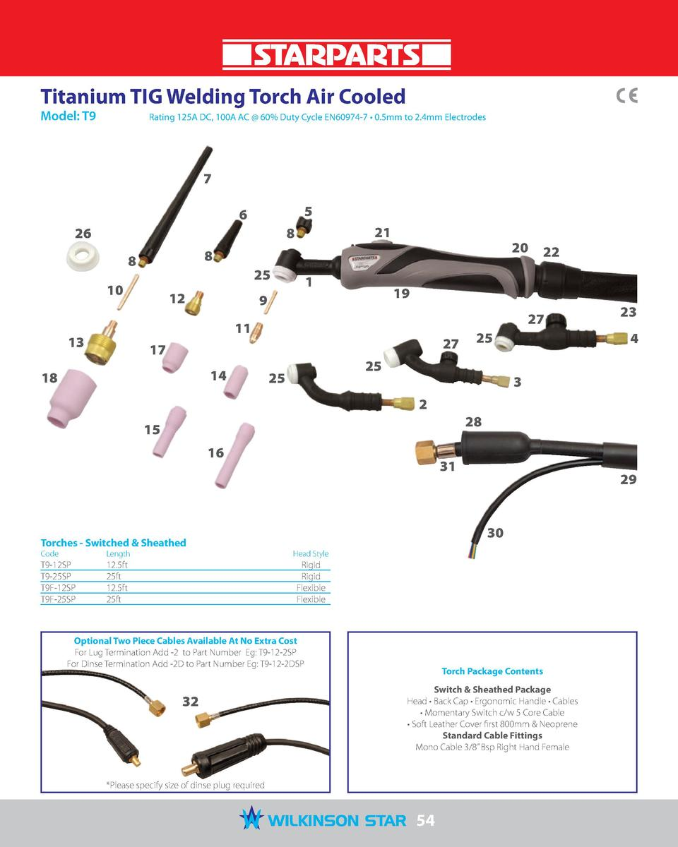 Titanium TIG Welding Torch Air Cooled Model  T9   Rating 125A DC, 100A AC   60  Duty Cycle EN60974-7     0.5mm to 2.4mm El...