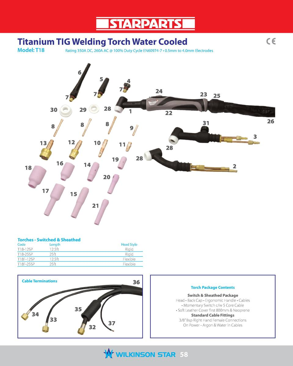 Titanium TIG Welding Torch Water Cooled Model  T18   Rating 350A DC, 260A AC   100  Duty Cycle EN60974-7     0.5mm to 4.0m...