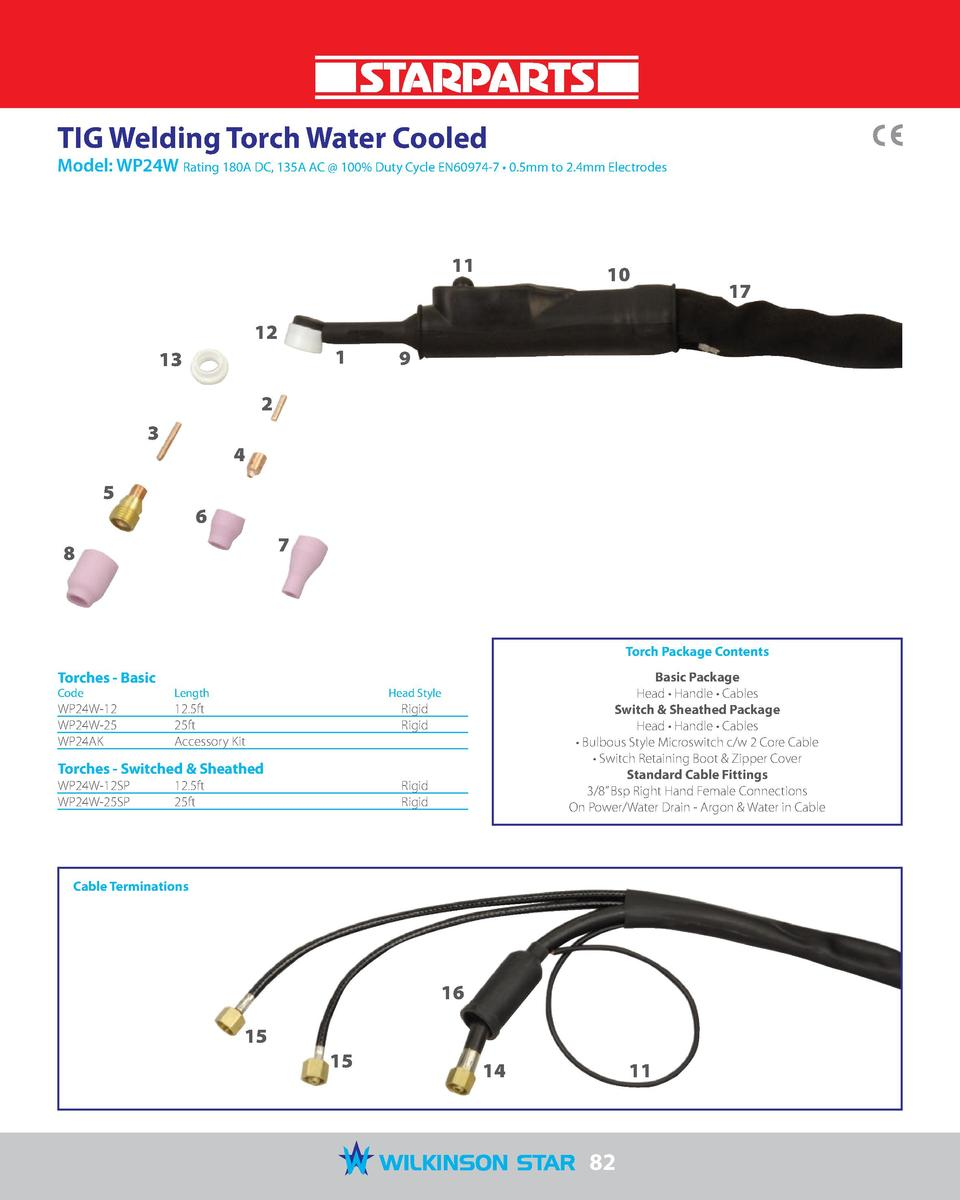 TIG Welding Torch Water Cooled  Model  WP24W Rating 180A DC, 135A AC   100  Duty Cycle EN60974-7     0.5mm to 2.4mm Electr...