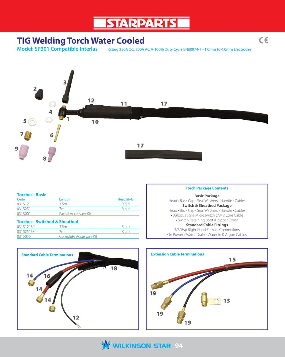 TIG Welding Torch Water Cooled Model  SP301 Compatible Interlas   Rating 350A DC, 200A AC   100  Duty Cycle EN60974-7     ...