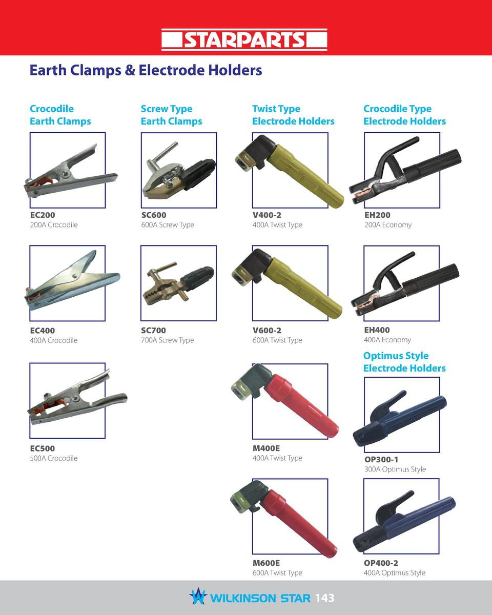Earth Clamps   Electrode Holders Crocodile Earth Clamps  Screw Type Earth Clamps  Twist Type Electrode Holders  Crocodile ...
