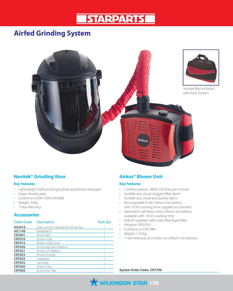 Airfed Grinding System  Storage Bag included with each system  Navitek   Grinding Visor  Airkos   Blower Unit  Key Feature...