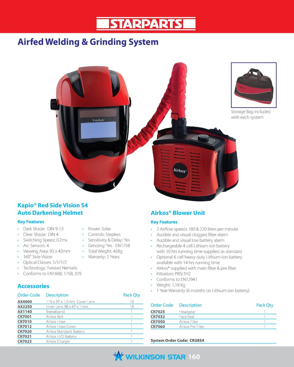 Airfed Welding   Grinding System  Storage Bag included with each system  Kapio   Red Side Vision S4 Auto Darkening Helmet ...