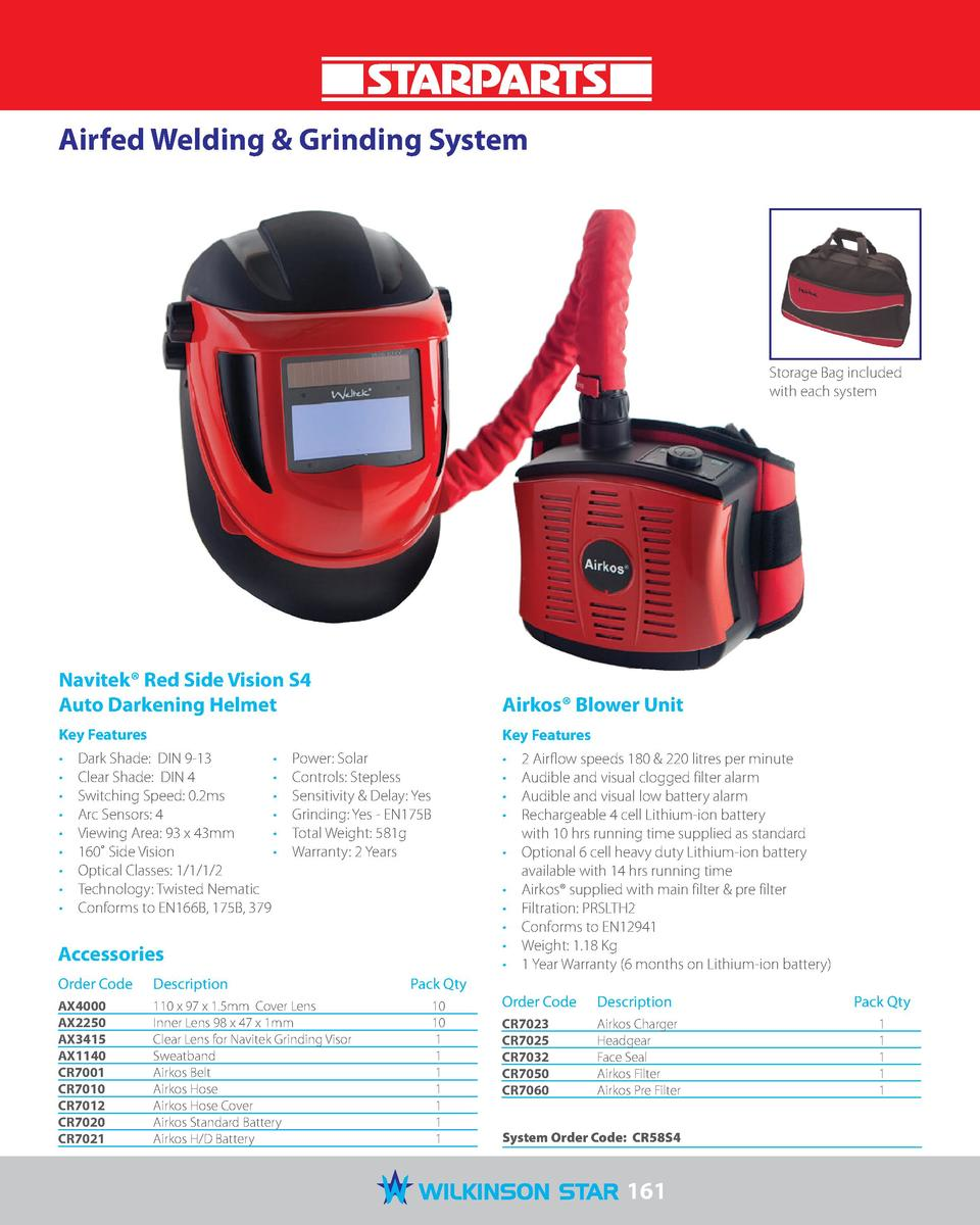 Airfed Welding   Grinding System  Storage Bag included with each system  Navitek   Red Side Vision S4 Auto Darkening Helme...