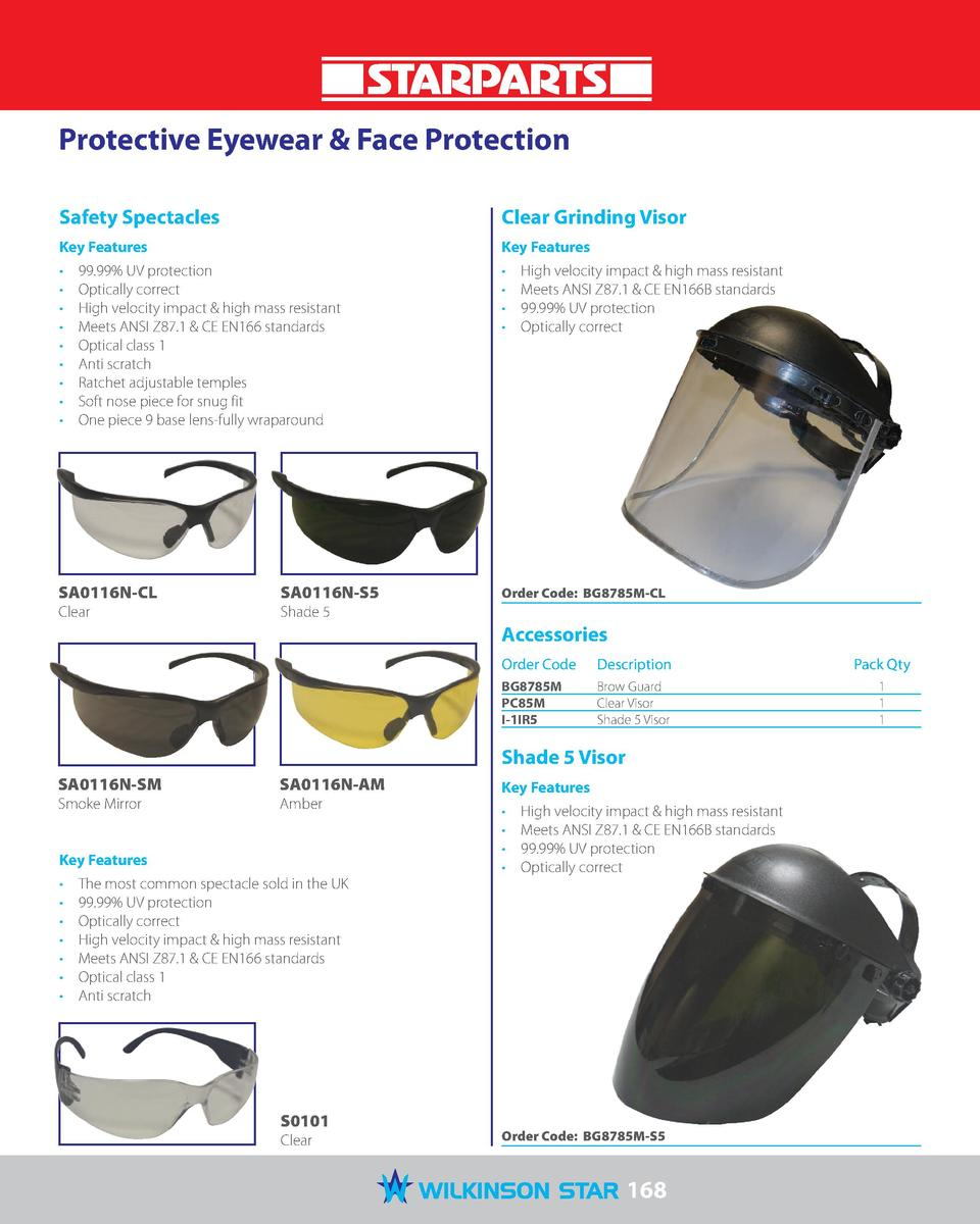 Protective Eyewear   Face Protection Safety Spectacles  Clear Grinding Visor  Key Features  Key Features                  ...